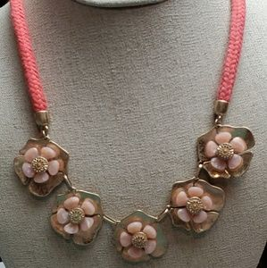 Loft signed coral colored flower necklace